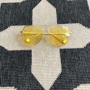 Forever 21 Retro Gold & Yellow Aviator Sunglasses